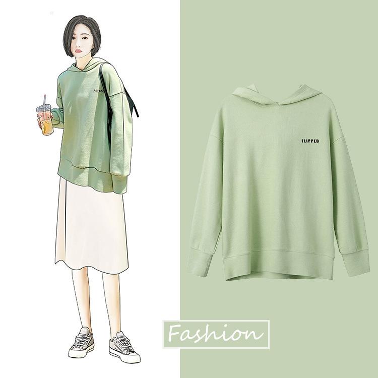 【多色多款组合】绿色卫衣女春2019新款韩版潮牌ins外套宽松5001
