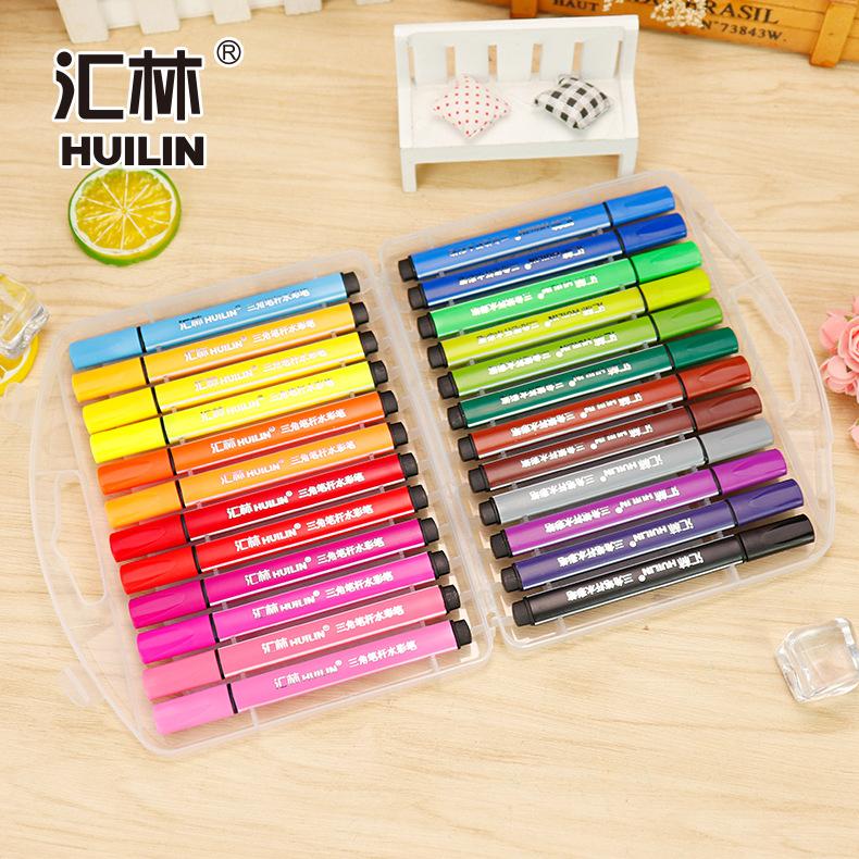 汇林大容量可水洗24色水彩笔三角杆塑料盒装彩色涂鸦儿童绘画笔