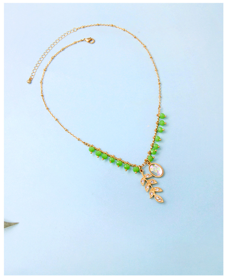 Simple leaf glass beads colorful imitated crystal rhinestone alloy necklace NHQD132435