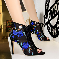 189-3 European and American wind-sexy slim high heel mesh hollow lace flower embroidery line with fishmouth sandals
