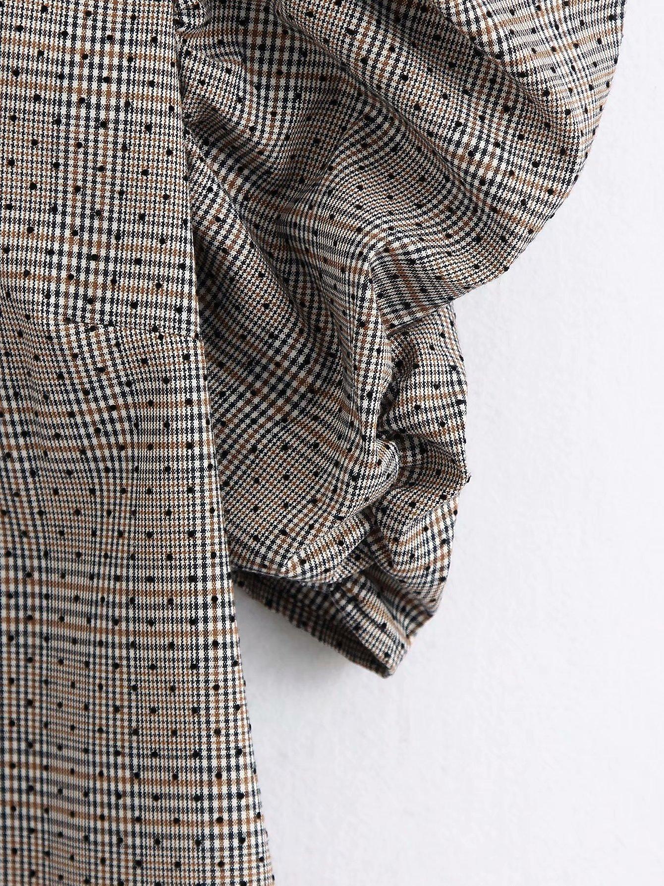 Wholesale Pleated Sleeve Plaid Dress NHAM194976