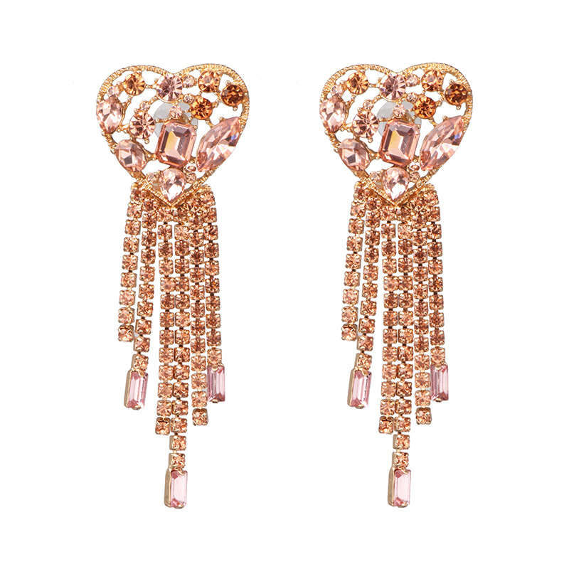 New heart-shaped fringed rhinestone earrings NHJJ142203
