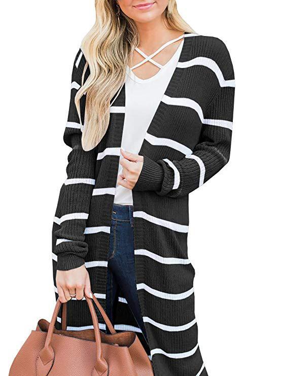 2019 亚马逊ebay开襟羊毛衫条纹长袖宽松针织毛衣外套女