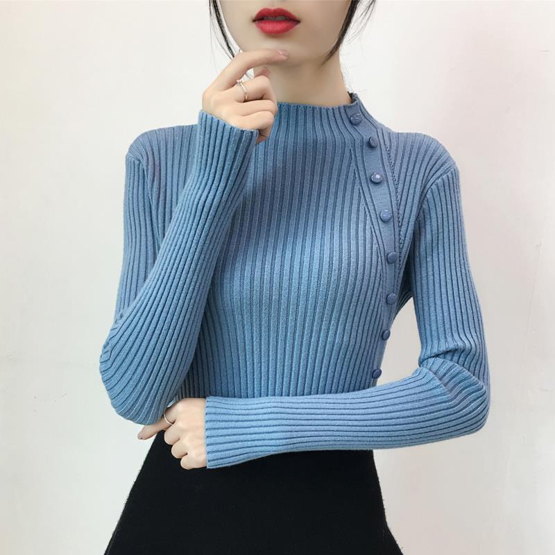 2019秋冬女装修身显瘦新款毛衣女打底衫纽扣半高领纯色紧身针织衫