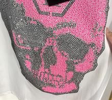 网红同款2019夏季新款潮牌圆领骷髅头满钻短袖T女微商一件代发