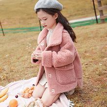 童裝羊絨外套女童大衣2019韓版新款女孩中長款羊毛雙面呢一件代發