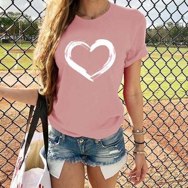 新款女士时尚爱情印花短袖T恤夏季休闲图形T恤上衣