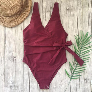 2019 new ladies one-piece solid color slimming swimsuit tethered swimsuit