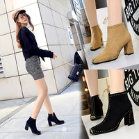 6862 European and American Restoration Night Club Sexy Rock Trend Coarse-heeled High-heeled Suede Metal Square Head Riveted Shoes