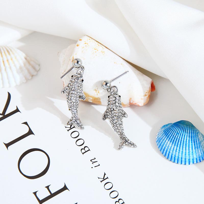 S925 pendientes de plata largos aretes de diamantes simples conjunto de peces NHQD190804