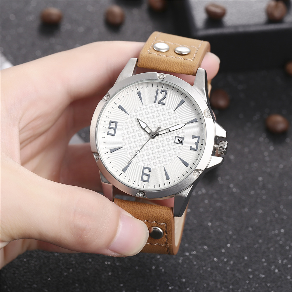 New men's single calendar casual digital Roman scale quartz watch belt watch NHHK172348