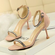 969-1 Korean version fashionable, sexy and slim summer high heel shoes, slim heel high heel suede water drill with sandals