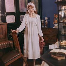 珍西摩荷叶边方领复古宫廷风长袖双层棉纱专柜好品质睡裙少女春秋