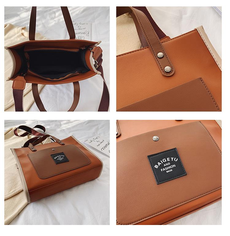 Fashion winter color matching hand bag shoulder messenger bucket bag NHLD193897