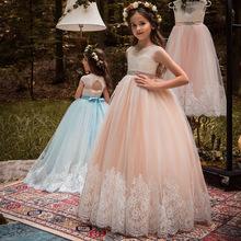 儿童演出服2019跨境货源蕾丝无袖高腰花童裙演出生日公主蓬蓬裙