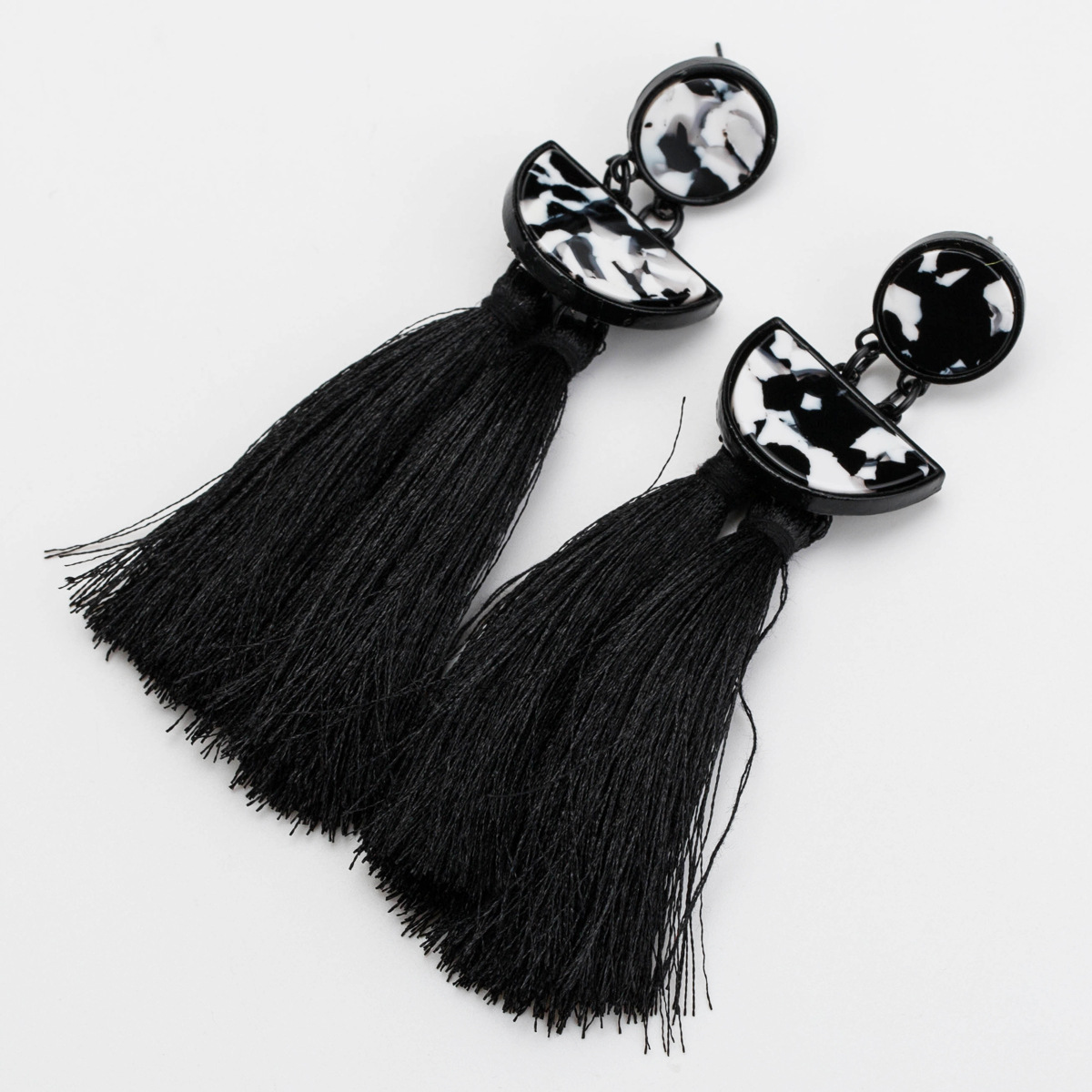 Cloth Fashion Tassel earring  (black)  Fashion Jewelry NHJE2666-black