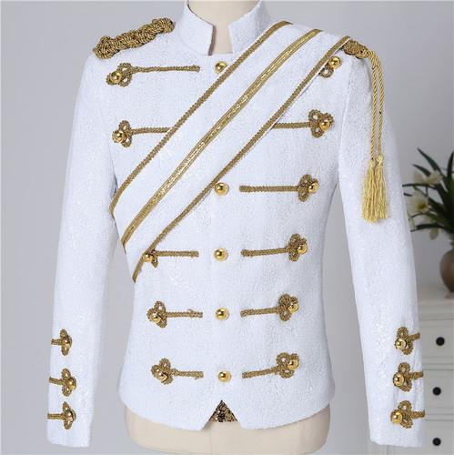 black white Sequined singer rock jazz dance Fringe Epaulet Jacket for male nightclub bar coats men's England style band rock singer Costume