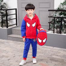 加絨加厚蜘蛛俠童裝男童套裝2019冬季新款兒童卡通兩件套送小書包