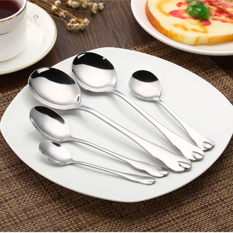 水滴系列尖圆勺餐厅餐具不锈钢勺子西餐厨房用具汤勺?#39057;?#25209;发叉子
