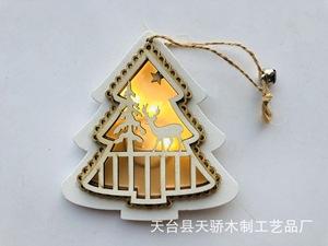 镂空浮雕木片彩绘复古圣诞树木质圣诞节系列装饰品小挂件摆件