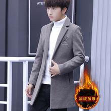 秋冬季男士加绒毛呢风衣男中长款商务休闲男士修身呢子大衣外套男