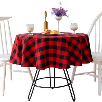 Tablecloth table cloth table cover Table American red and Black Plaid party decoration Hotel Restaurant Party round table towel mat can be customized