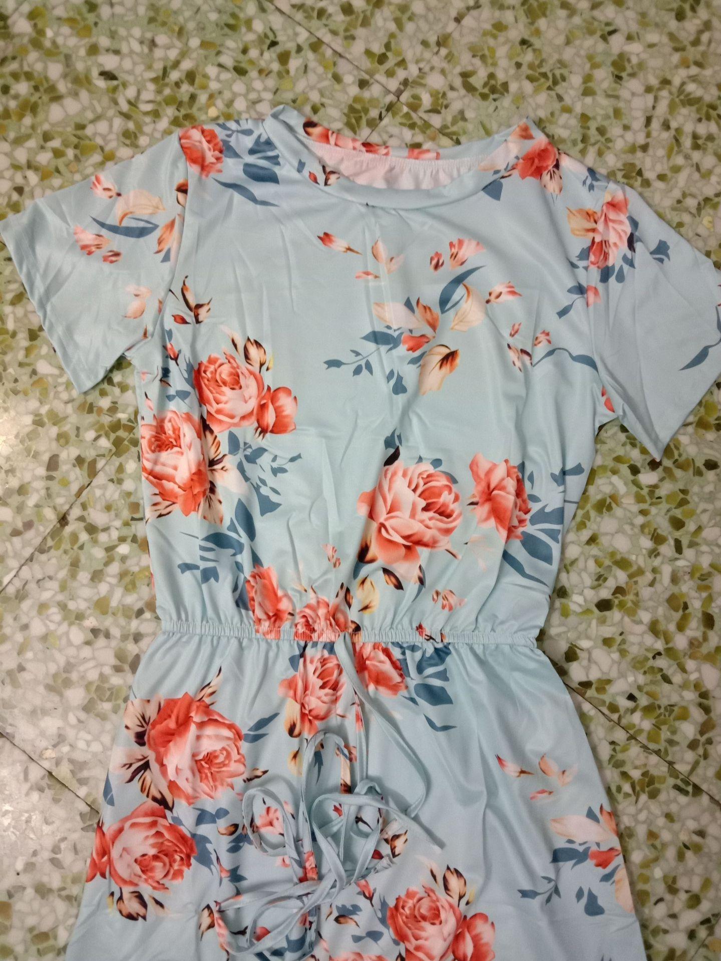 ladies fashion new printed bouquet waist short sleeve round neck dress NSYF1139