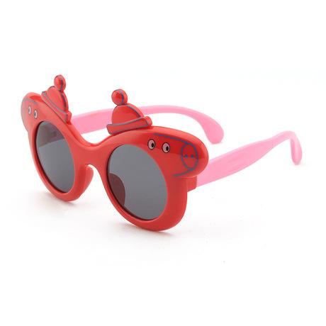 2019 trẻ em mới kính râm silicon phân cực Đàn ông và phụ nữ bé siêu mềm phim hoạt hình kính râm lợn an toàn UV400 Gương trẻ em
