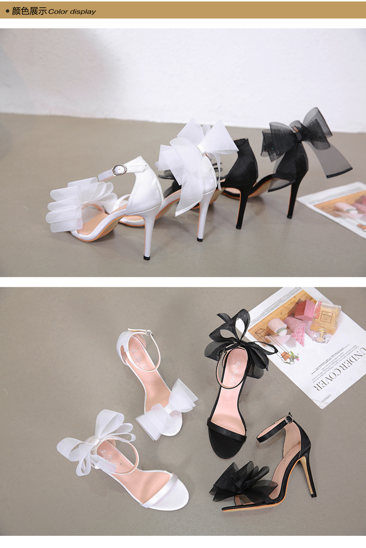 Sexy big bow mesh satin sandals NHSO135046