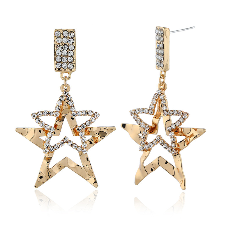 Womens Star Rhinestone Exaggerated hollow  Alloy Earrings NHKQ120682