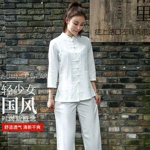 Tai Chi clothing cotton and linen women martial arts performance practice clothing custom Chinese style Tai Chi clothing