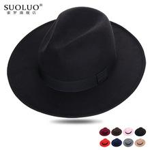 上海滩大沿礼帽男士黑色毛呢英伦帽子女舞台大毡帽新郎复古绅士帽