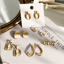 925银针金属高级感耳环不规则圆圈几何耳钉女夸张复古冷淡风耳饰