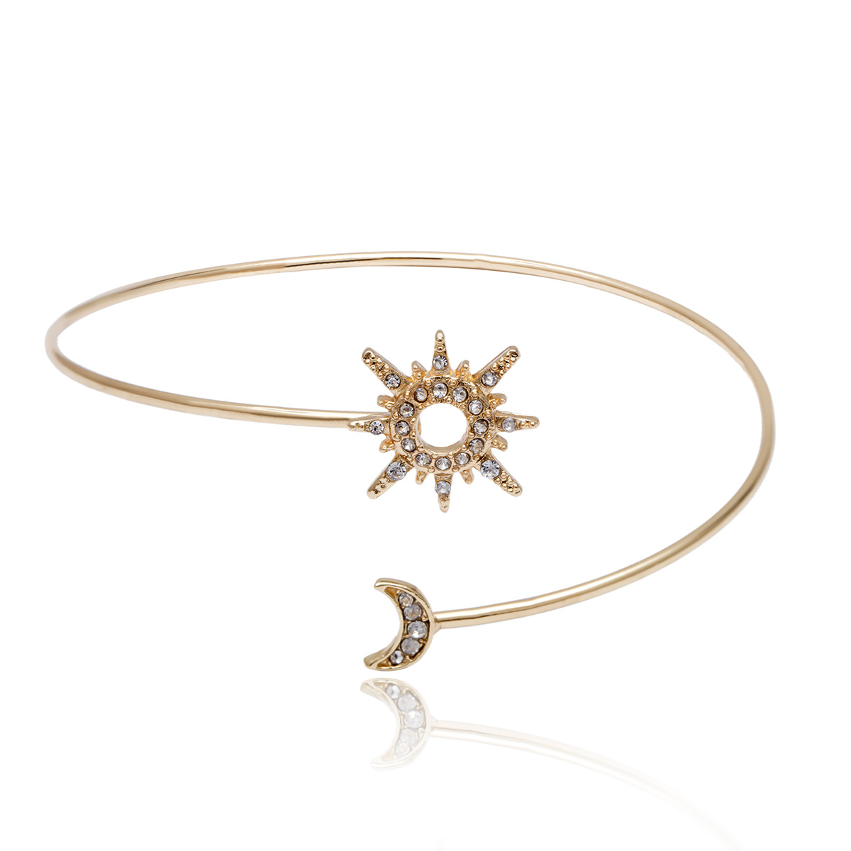 Womens Geometry Micro-inlaid sun moon  Plating Alloy Arm bracelet NHXR127782