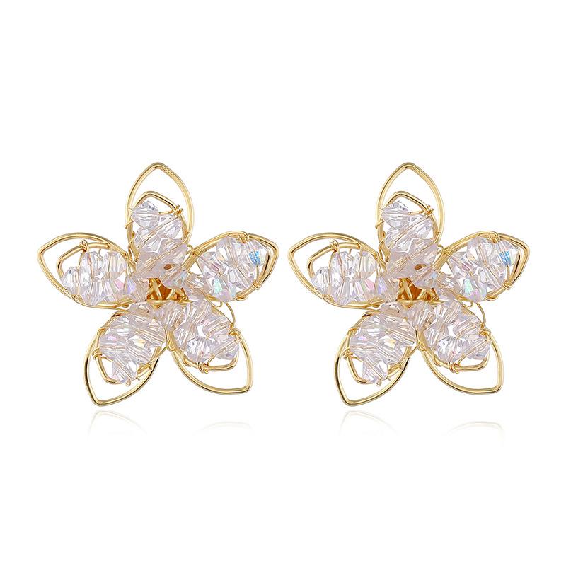 Aretes exagerados de flores de cristal de moda al por mayor NHVA195724