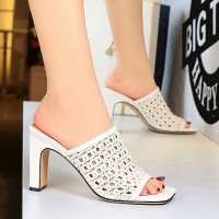83-7 Retro-European and American Fashion Women's Slippers with Rough heels and Slender Mesh Hollow Knitting Head