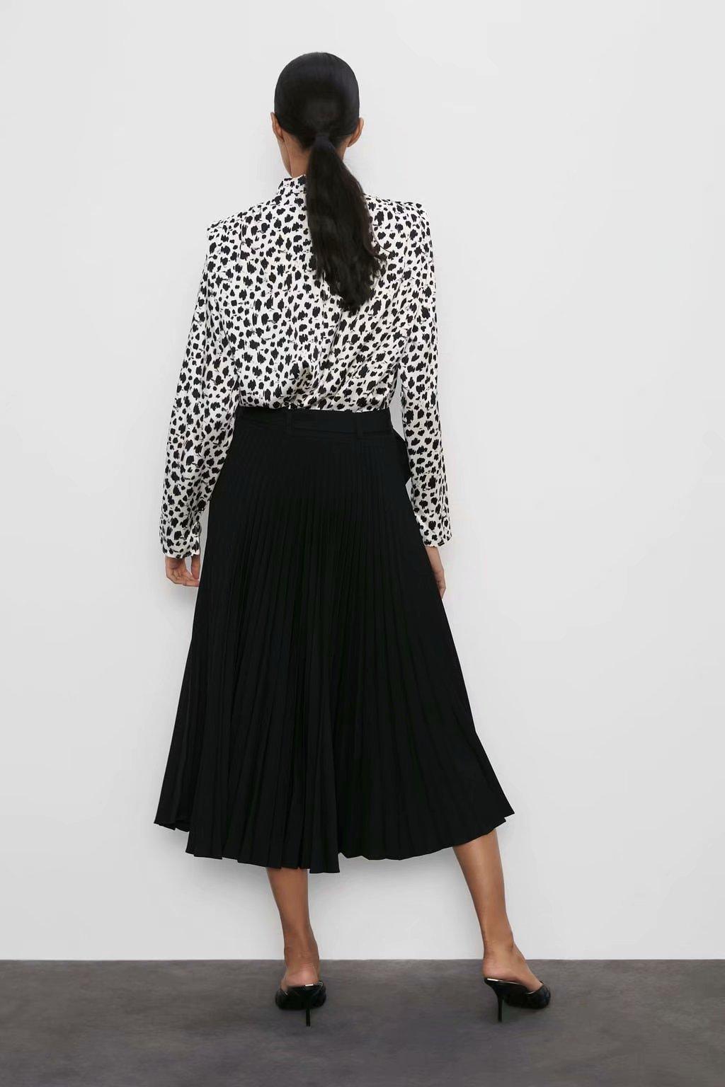 Fashion pleated decorative print shirt NHAM157293