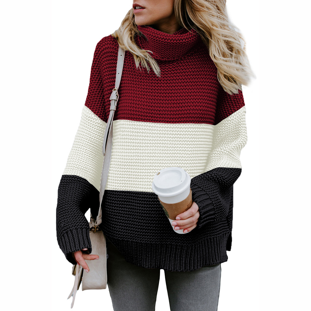 Winter sweater women's popular splicing color high collar long sleeve sleeve sleeve cover Europe and America large new loose knit 270168