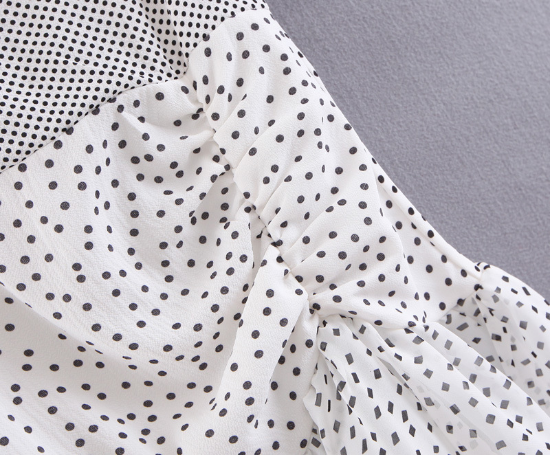 Clothing - 80s Vintage Style Off Shoulder Puff Dot Print Pleated Party Ruffles Summer Dress