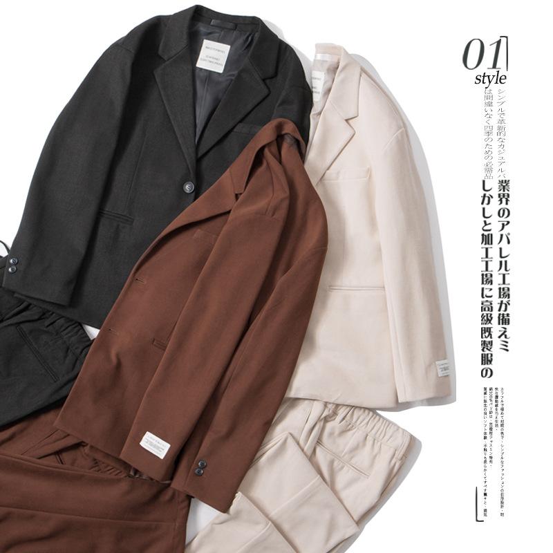 套装男2019秋季新款男装初秋时尚洋气毛呢西装外套西裤春秋两件套