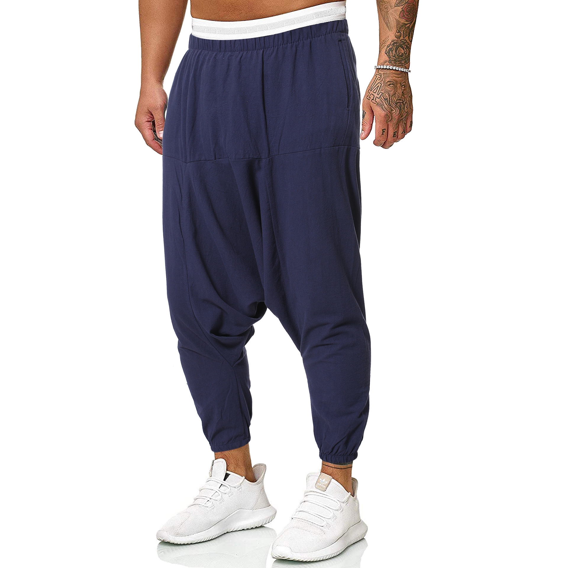 Men's European And American Fashion Trend Cotton And Linen Casual Cross-file Pants