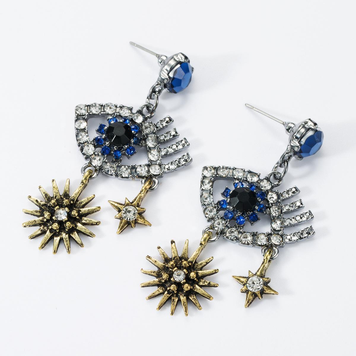 Multilayer Alloy Star Diamond Eye Earrings NHJE157800