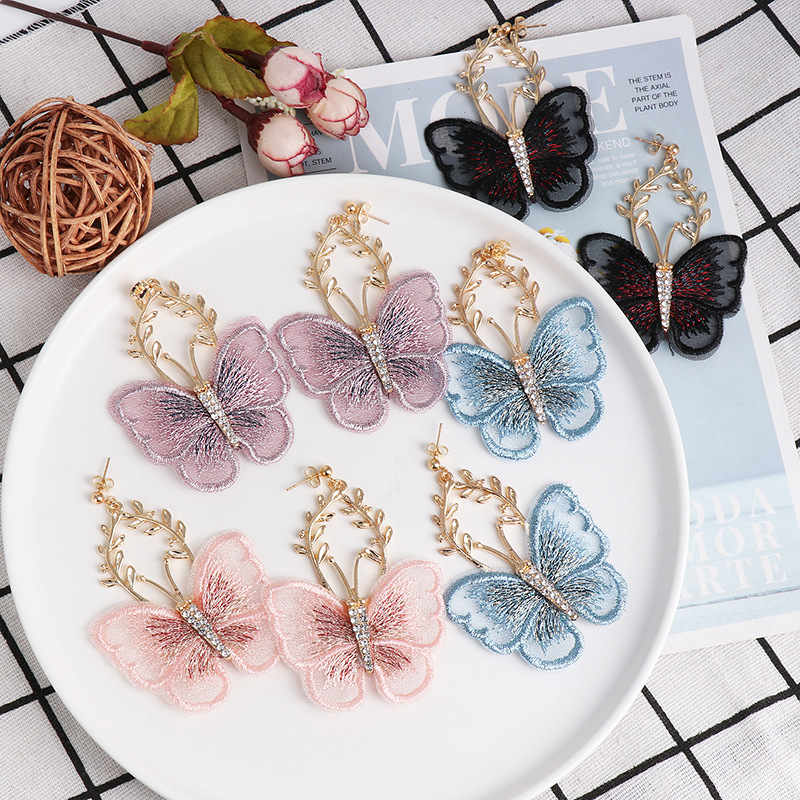 Fashion Pop Chiffon Lace Butterfly Diamond Earrings NHJJ190272