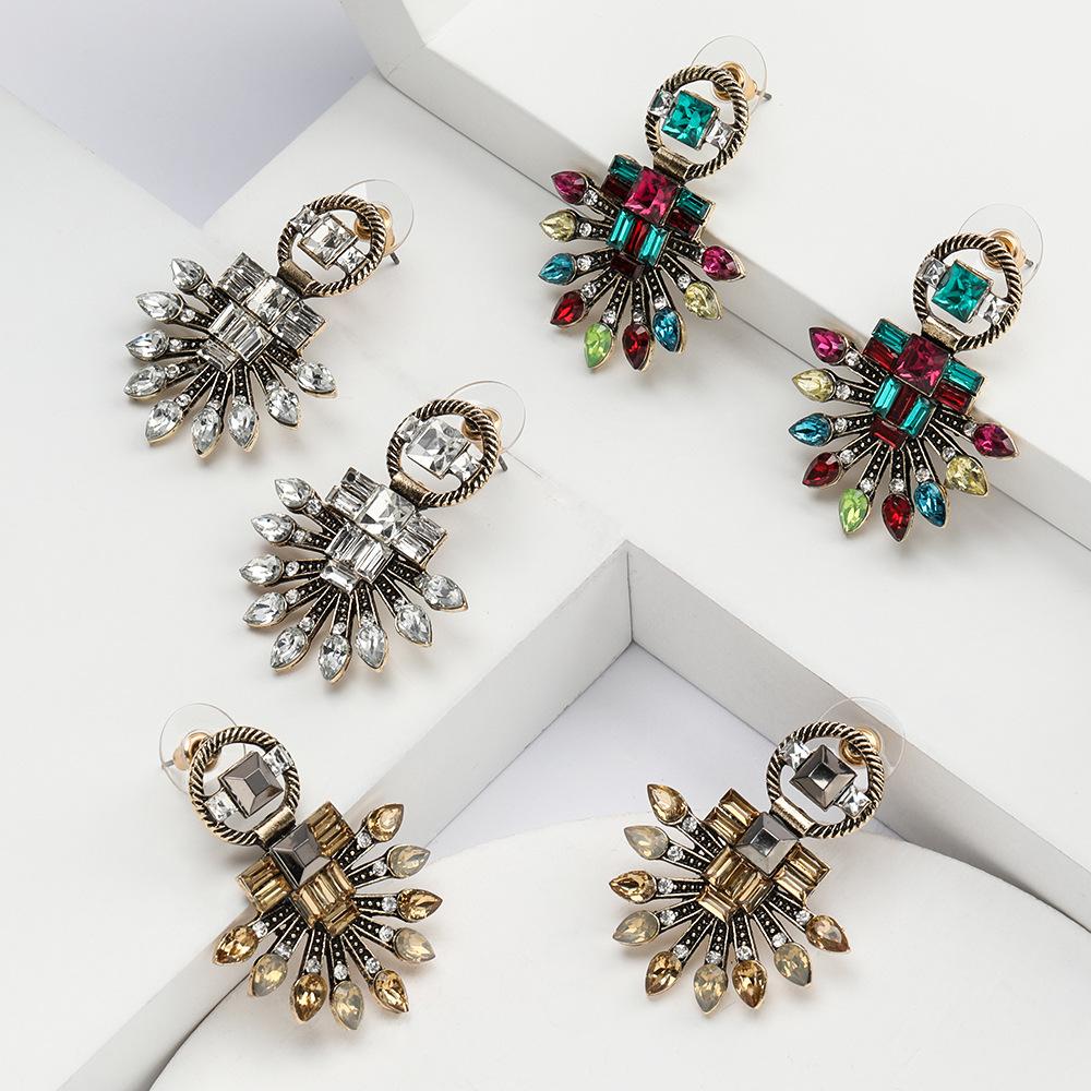 earrings new alloy diamond rhinestone geometric earrings female retro bohemian earrings NHJE190670