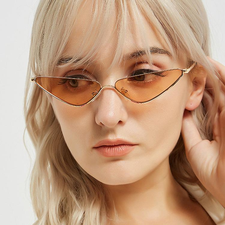 European and American New Retro small frame triangle glasses ins wind metal sunglasses cat's Eye Sunglasses Fashion Star