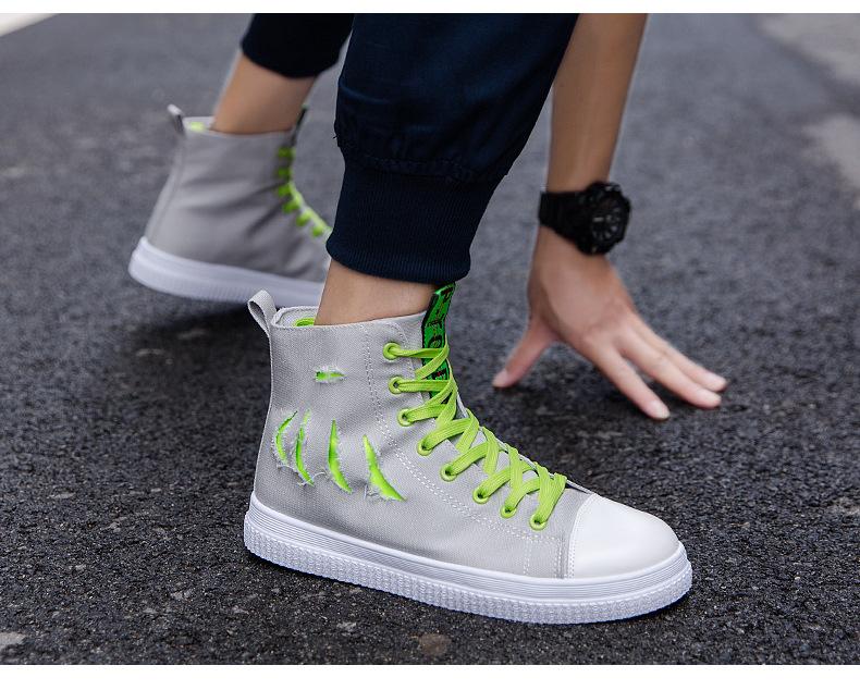 S春夏秋季新款韩版男士休闲高帮帆布鞋百搭潮单嘻哈学生板鞋子