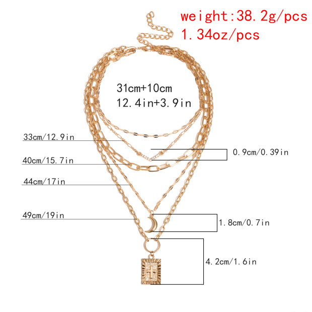 Jewelry Multilayer Fringe Cross Item Vintage V-shaped Diamond Crescent Moon Tag Necklace NHXR177089