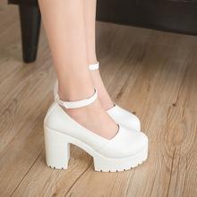春秋季新款女鞋淺口工作鞋時尚白色高跟鞋圓頭搭扣粗跟女單鞋包郵