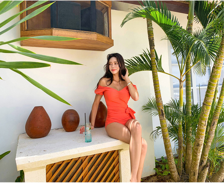 New Watermelon Red Ms. Shoulder Short Sleeve Sexy Fashion One-Piece Swimsuit NHHL200063