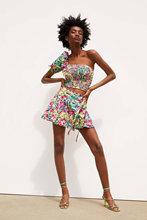 异域风情度假不对称露肩上衣半裙两件套 欧美时尚印花套装N1-2251